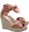 Sandália Plataforma Cetim Lace Up Rose Blush