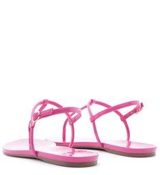 Sandália Rasteira Verniz Rosa Summer Pink