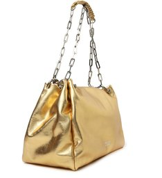 Bolsa Bucket Dourada Couro Ana Média