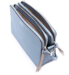 Bolsa Tiracolo Azul Couro Abraccio Pequena New Cielo