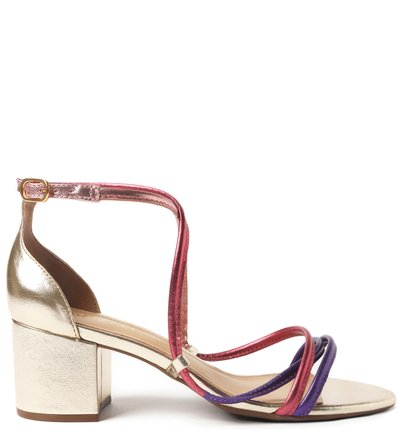 Sandália Metalizada Colorida Bloco Naomi