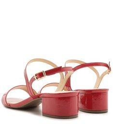 Sandália Vermelha Salto Bloco Baixo Tiras