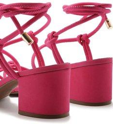 Sandália Nobuck Amarração Tira Bombada Salto Bloco Pink Absolut