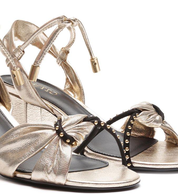 Sandália Dourada Salto Blocado Couro Tiras com Nó