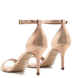 Sandália Salto Médio Fino Crouro Dourado Isabelli
