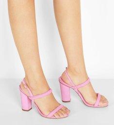 Sandália Nobuck Salto Bloco Tiras Baby Pink