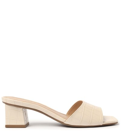 Mule Off-White Croco Salto Bloco