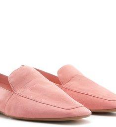 Mocassim Arezzo Touch Suede Bico Quadrado Flower Pink