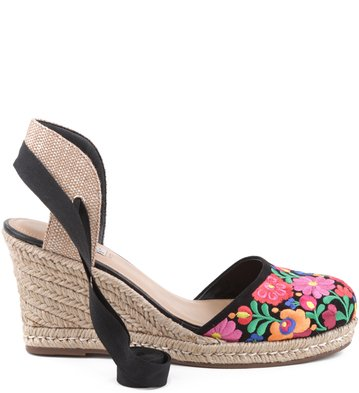 Anabela Floral Negro