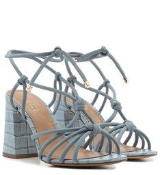 Sandália de Amarrar Azul Croco Salto Alto