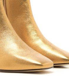 Bota Couro Salto Baixo Bloco Bico Quadrado Toast Gold