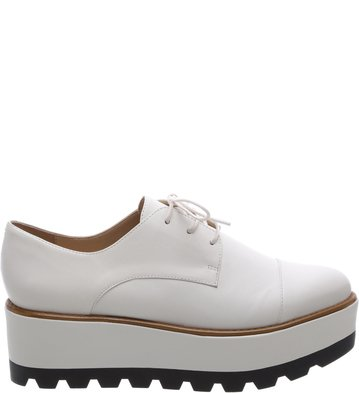 Oxford Couro Plataforma Bianco Color Line Black