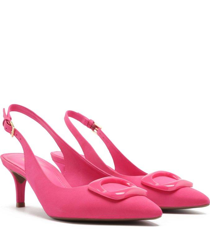 Scarpin Nobuck Slingback Salto Kitten Fivela Pink Absolut