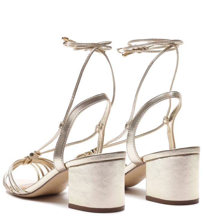 Sandália Dourada Salto Bloco Tiras Amarração Platino