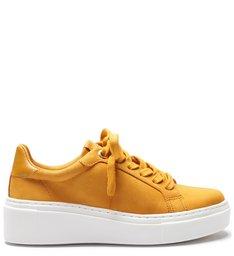 Tênis Salto Baixo Feminino Nobuck  Amarelo