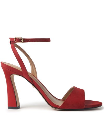 Sandália Vermelha Nobuck Bloco Stella