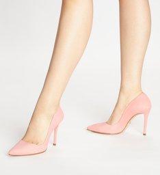 Scarpin Nobuck Salto Alto Fino Flower Pink