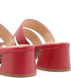 Sandália Couro  Salto Baixo Tiras Cherry Red