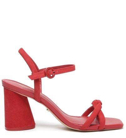 Sandália Vermelha Salto Bloco Alto Chiara