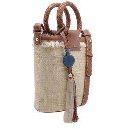 Bolsa Bucket Fibra Natural Fernanda Pequena Areia e Cúrcuma