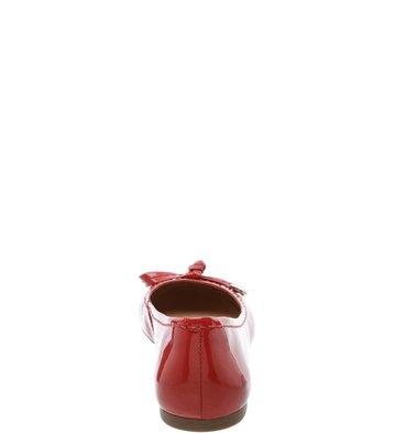 Sapatilha Bico Redondo Laço com Metal Verniz Batom Rouge