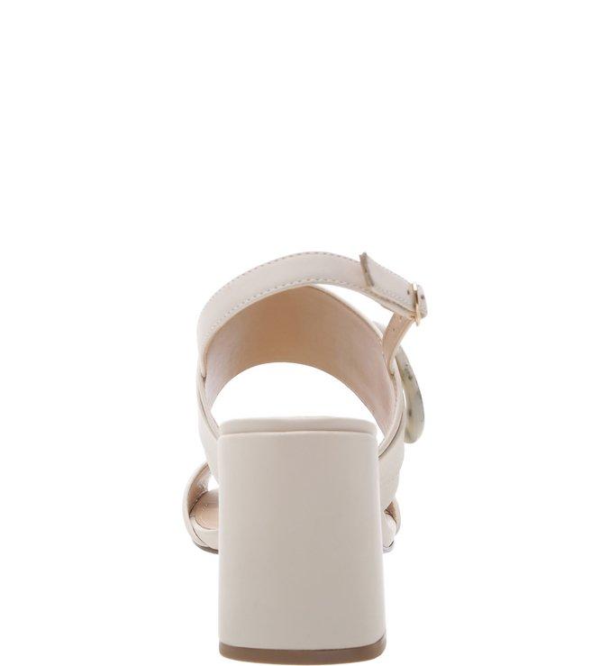 Sandália Couro Salto Bloco Fivela Resina Porcelana