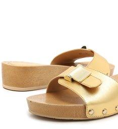 Sandália Dourada Couro Clog Salto Flatform