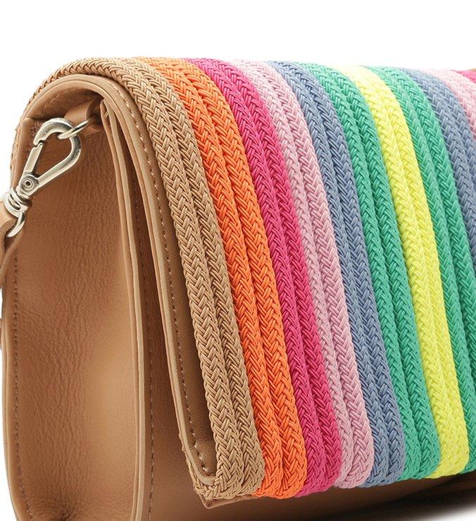 Clutch Tiras Rainbow Otávia Pequena Multicolorida