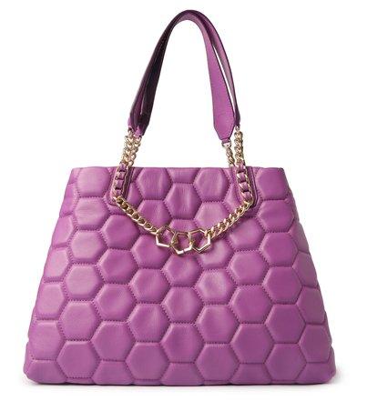 Bolsa Shopping Roxa Couro Bee.ZZ Grande