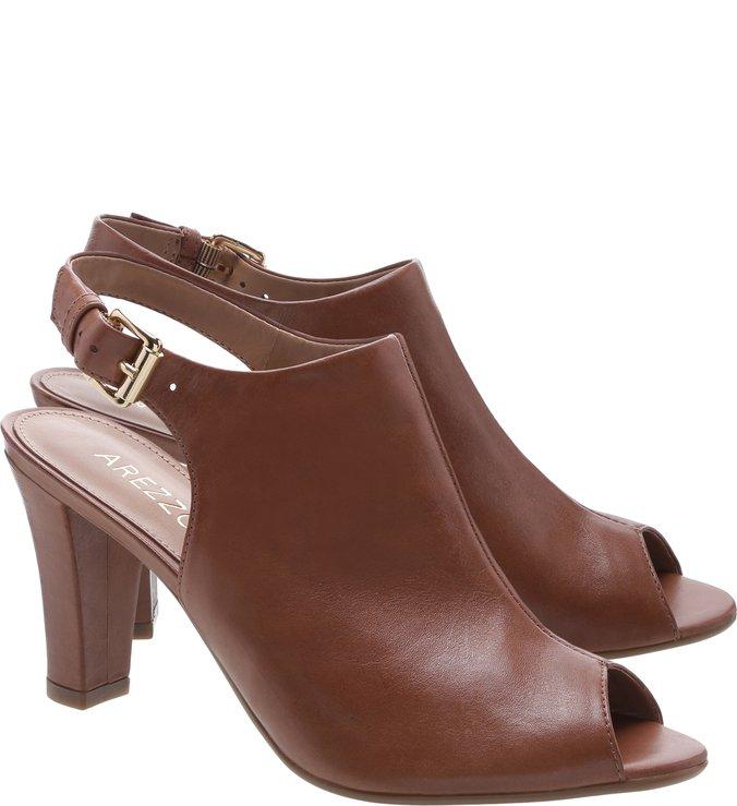 Sandal Boot Couro Salto Médio Imbuia