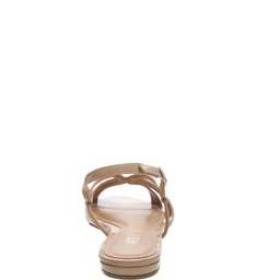 Sandália Verniz Rasteira Tiras Light Cream