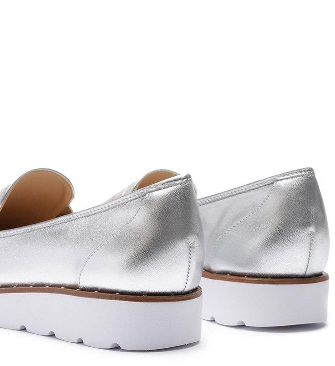 Mocassim Flatform Sola Branca Silver