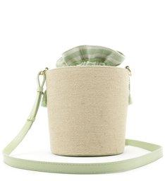 Bolsa Bucket Tecido Rústico Lilian Pequena Natural e Baby Green
