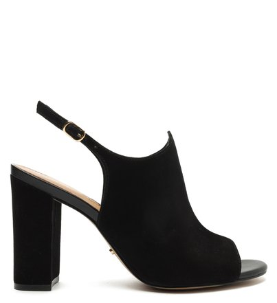 Sandal Boot Preta Nobuck Bloco Romantic