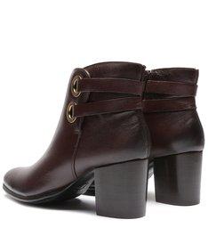 Ankle Boot Couro Marrom Elos Dourado