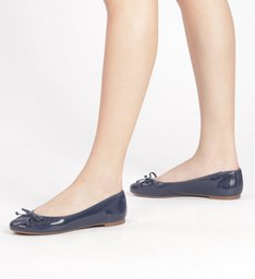 Sapatilha Verniz Textura Tiny Bow Eclipse e Navy Blue
