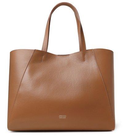 Bolsa Shopping Marrom Couro Serena Grande