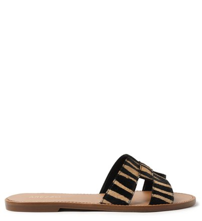 Rasteira Animal Print Pelo Slide Zebra