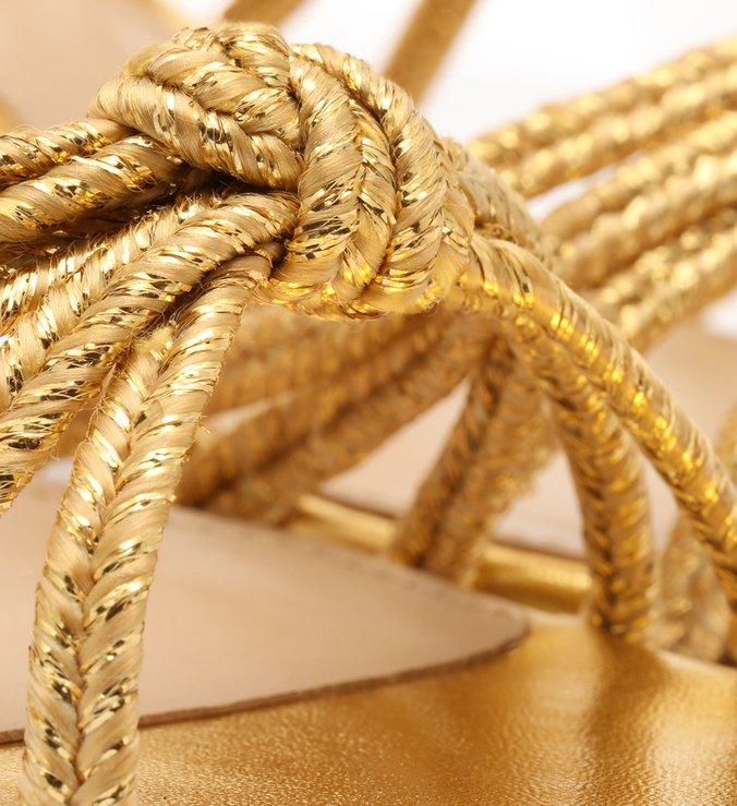 Sandália Dourada Alexa Natural Glam Bloco