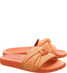 Sandália Tecido Salto  Rasteiro  Orange