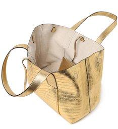 Bolsa Shopping Dourada Couro Croco Roma