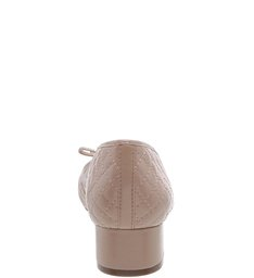 Scarpin Salto Bloco Matelassê Laço Light Cream