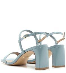 Sandália Azul Couro Salto Bloco Fivela New Cielo