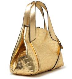 Bolsa Tote Dourada Couro Croco Roma