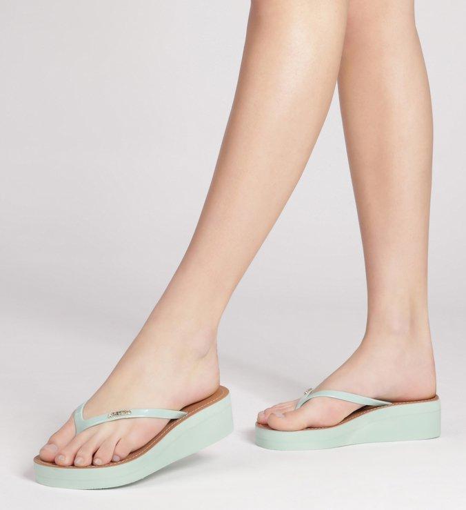 Sandália Salto Baixo Azul Fresh Pear