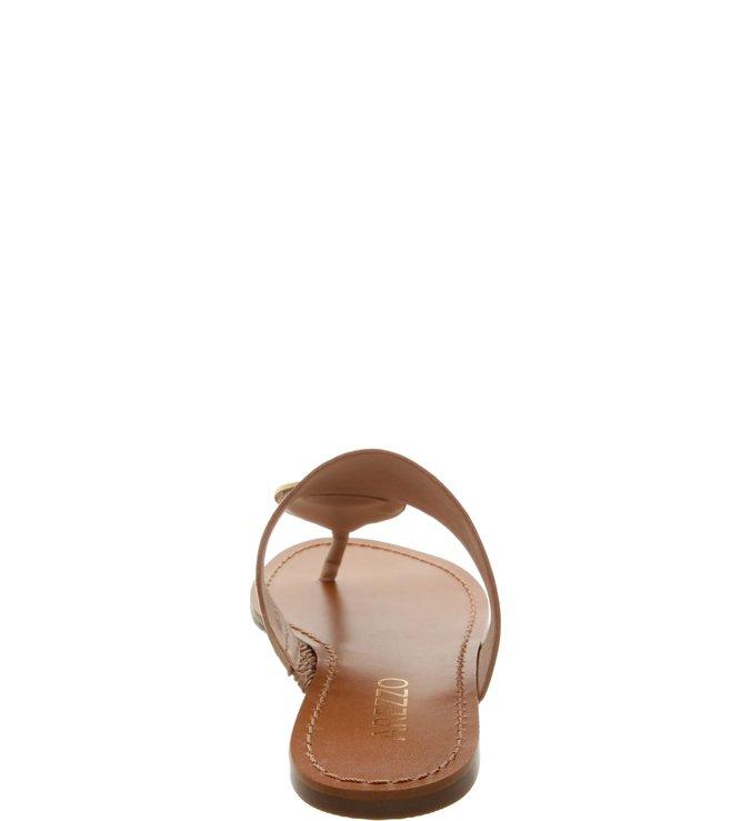 Chinelo Slide Couro Esfera Dourado Pale Beige