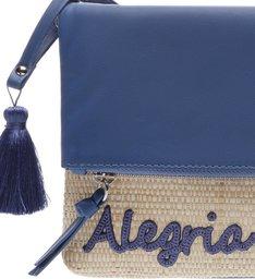 Alegria|Clutch Couro e Palha Pequena Blue Jeans e Natural