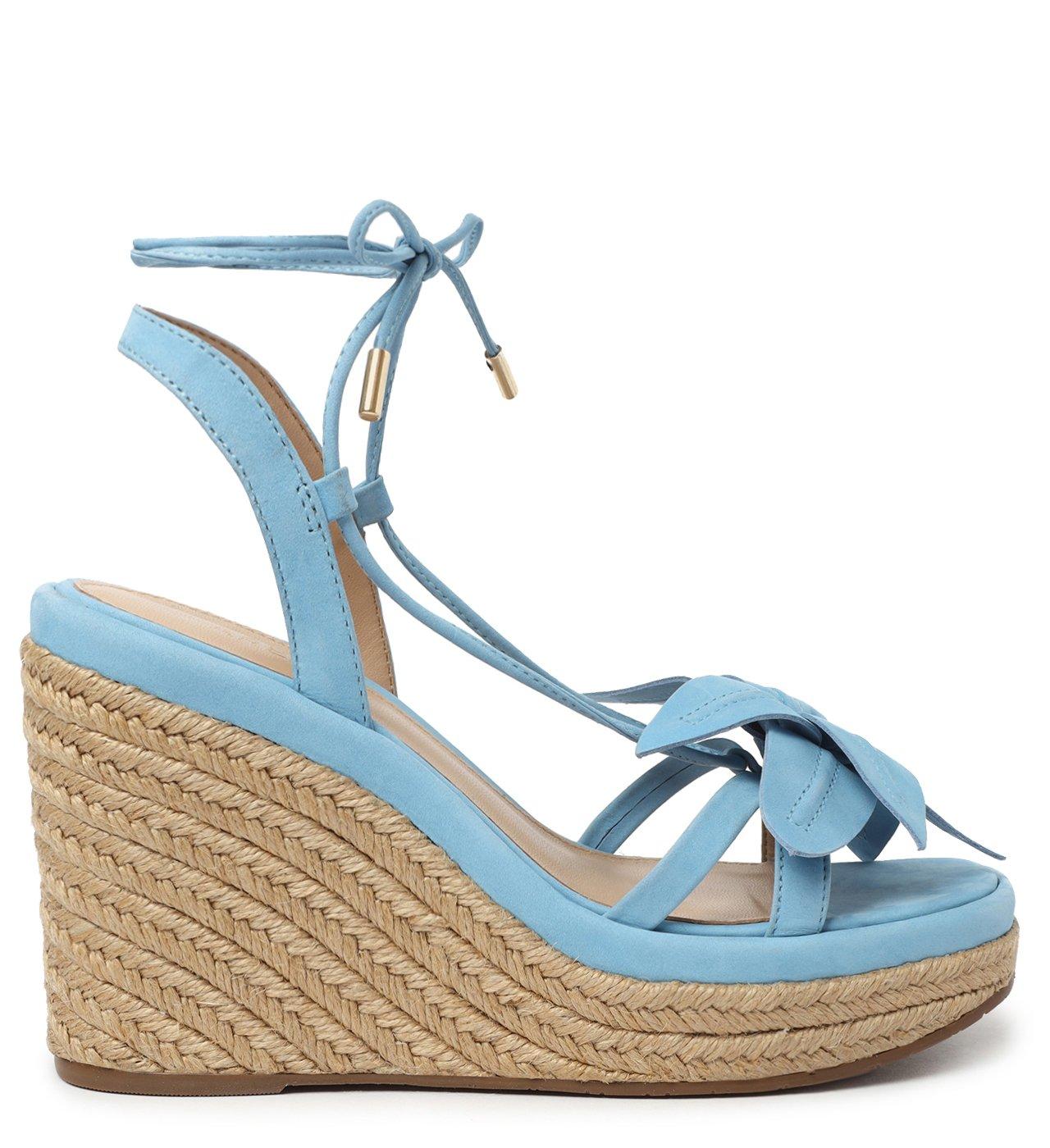 Sandália Azul Lily Nobuck Anabela   Arezzo