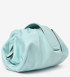 Bolsa Tiracolo Azul Grande de Couro Fiore