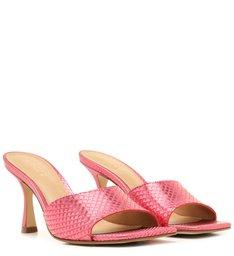 Mule Aberta Rosa Skin Metal Salto Taça Bico Quadrado